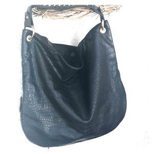 NWT - large Deux Lux black hobo bag zipper details